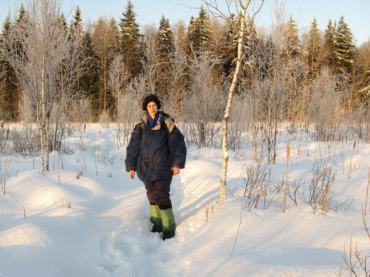 Автор на утреннем болоте. Автор фото - Татьяна Кудрявцева